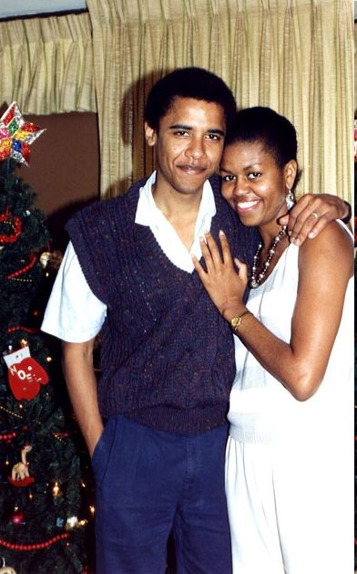 Young Michelle and Barack
